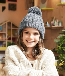 Beechfield Junior Cable Knit Melange Beanie image