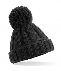 Image 2 of Beechfield Junior Cable Knit Melange Beanie