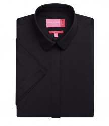 Image 2 of Brook Taverner Ladies Soave Short Sleeve Poplin Shirt