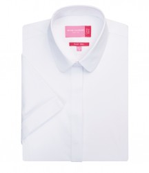 Image 4 of Brook Taverner Ladies Soave Short Sleeve Poplin Shirt