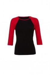 Image 2 of Bella Ladies Baby Rib 3/4 Sleeve Contrast T-Shirt
