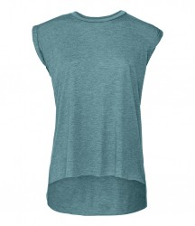 Image 9 of Bella Ladies Flowy Rolled Cuff Muscle T-Shirt