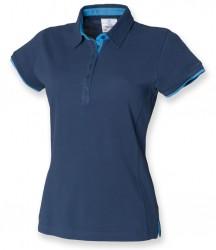 Image 3 of Front Row Ladies Contrast Cotton Piqué Polo Shirt