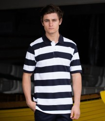 Front Row Striped Cotton Piqué Polo Shirt image