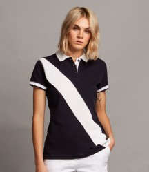 Front Row Ladies Diagonal Stripe Cotton Piqué Polo Shirt image