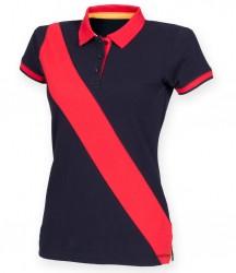 Image 3 of Front Row Ladies Diagonal Stripe Cotton Piqué Polo Shirt