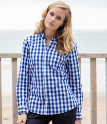 Front Row Ladies Long Sleeve Checked Cotton Shirt image