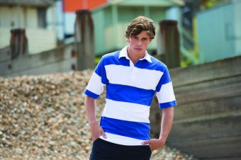 Front Row Short Sleeve Sewn Stripe Rugby Shirt image