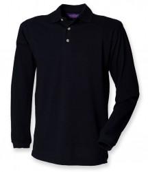 Image 3 of Henbury Long Sleeve Cotton Piqué Polo Shirt