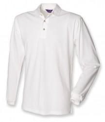 Image 4 of Henbury Long Sleeve Cotton Piqué Polo Shirt