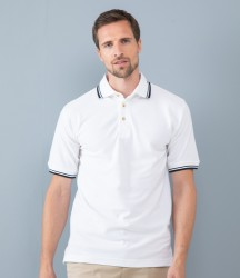 Henbury Contrast Double Tipped Cotton Piqué Polo Shirt image