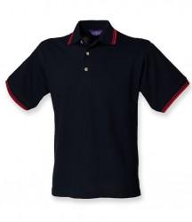 Image 3 of Henbury Contrast Double Tipped Cotton Piqué Polo Shirt