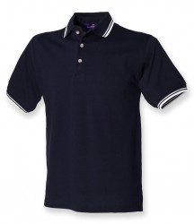 Image 4 of Henbury Contrast Double Tipped Cotton Piqué Polo Shirt