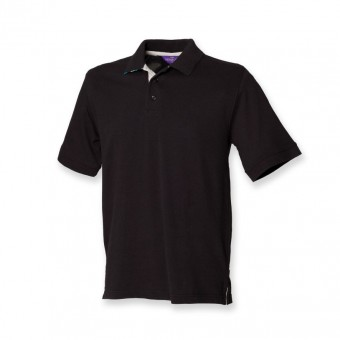 Henbury Striped Under Collar Cotton Piqué Polo Shirt image