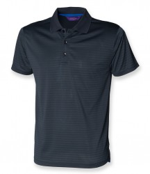Image 3 of Henbury Cooltouch™ Textured Stripe Piqué Polo Shirt