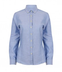 Image 3 of Henbury Ladies Modern Long Sleeve Regular Fit Oxford Shirt