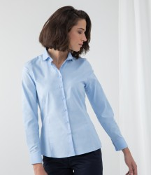Image 1 of Henbury Ladies Long Sleeve Stretch Poplin Shirt
