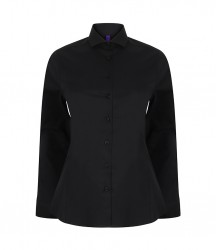 Image 2 of Henbury Ladies Long Sleeve Stretch Poplin Shirt