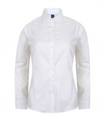 Image 4 of Henbury Ladies Long Sleeve Stretch Poplin Shirt