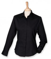 Image 2 of Henbury Ladies Long Sleeve Pinpoint Oxford Shirt