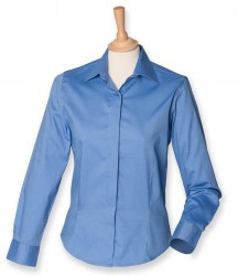 Image 3 of Henbury Ladies Long Sleeve Pinpoint Oxford Shirt