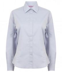Image 4 of Henbury Ladies Long Sleeve Pinpoint Oxford Shirt