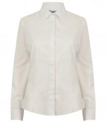 Image 5 of Henbury Ladies Long Sleeve Pinpoint Oxford Shirt