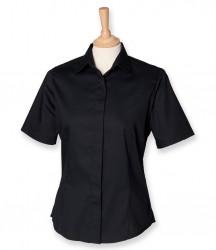 Image 2 of Henbury Ladies Short Sleeve Pinpoint Oxford Shirt