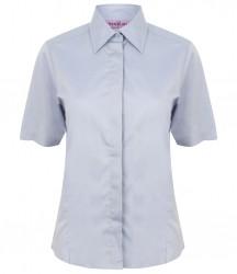 Image 5 of Henbury Ladies Short Sleeve Pinpoint Oxford Shirt