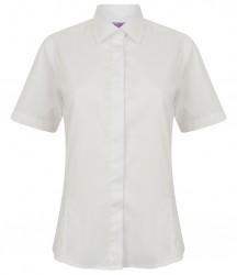 Image 4 of Henbury Ladies Short Sleeve Pinpoint Oxford Shirt