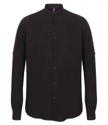 Image 2 of Henbury Mandarin Roll Sleeve Anti-Bac Wicking Shirt