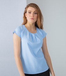 Henbury Ladies Pleat Front Short Sleeve Blouse image