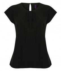 Henbury Ladies Pleat Front Short Sleeve Shirt image