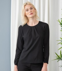 Henbury Ladies Pleat Front Long Sleeve Blouse image