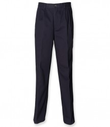 Image 3 of Henbury Front Pleat Chino Trousers