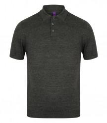 Image 3 of Henbury Knitted Short Sleeve Polo Shirt
