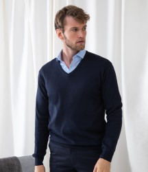 Henbury Lightweight Cotton Acrylic V Neck Sweater image