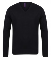Image 2 of Henbury Lightweight Cotton Acrylic V Neck Sweater