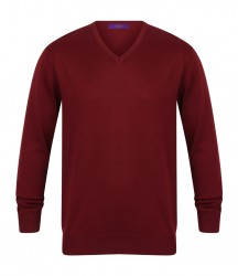 Image 3 of Henbury Lightweight Cotton Acrylic V Neck Sweater