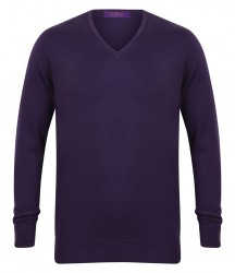 Image 6 of Henbury Lightweight Cotton Acrylic V Neck Sweater