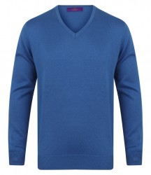 Image 7 of Henbury Lightweight Cotton Acrylic V Neck Sweater