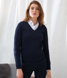Henbury Ladies Lightweight Cotton Acrylic V Neck Sweater image