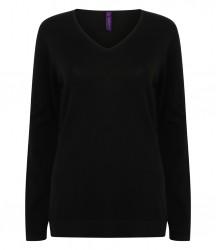 Image 2 of Henbury Ladies Lightweight Cotton Acrylic V Neck Sweater
