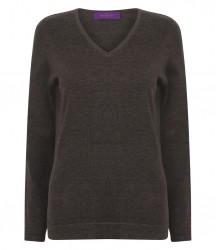 Image 4 of Henbury Ladies Lightweight Cotton Acrylic V Neck Sweater