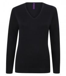 Image 5 of Henbury Ladies Lightweight Cotton Acrylic V Neck Sweater