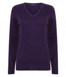 Image 6 of Henbury Ladies Lightweight Cotton Acrylic V Neck Sweater