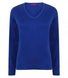 Image 7 of Henbury Ladies Lightweight Cotton Acrylic V Neck Sweater