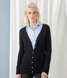 Henbury Ladies Cotton Acrylic V Neck Cardigan image