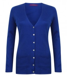 Image 7 of Henbury Ladies Cotton Acrylic V Neck Cardigan