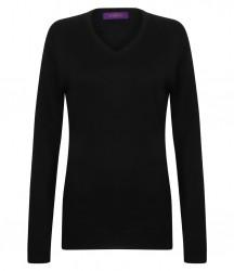 Image 2 of Henbury Ladies Acrylic V Neck Sweater